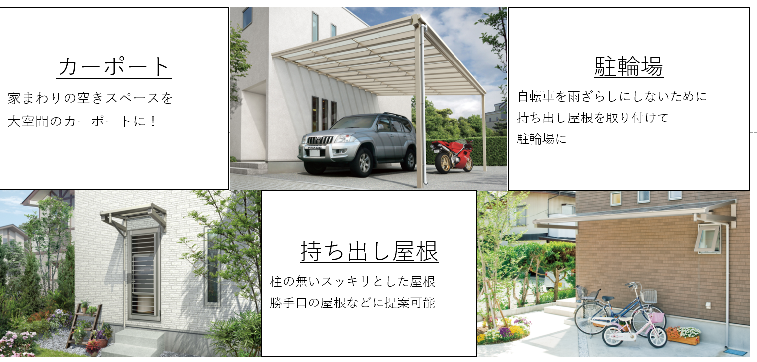 カーポート 家まわりの空きスペースを大空間のカーポートに! 持ち出し屋根 柱の無いスッキリとした屋根 勝手口の屋根などに提案可能 駐輪場 自転車を雨ざらしにしないために持ち出し屋根を取り付けて駐輪場に