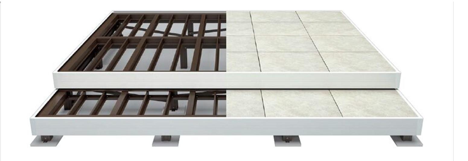 タイルデッキ 構造 アルミ基礎構造。施工を簡単にする新構造でっき。従来の湿式工法とは異なるアルミ基礎構造によるシンプル&簡単施工 機能にも、佇まいにも妥協しないアルミ基礎構造を採用しました。そのため施工スピードは従来の湿式工法より大幅に向上。また、高品位なタイルを使用しているた為上品さも光ります。