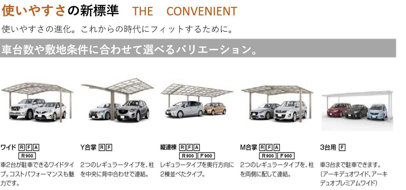 使いやすさの新標準 THE CONVENIENT 使いやすさの進化。これからの時代にフィットするために。 車台数や敷地条件に合わせて選べるバリエーション。