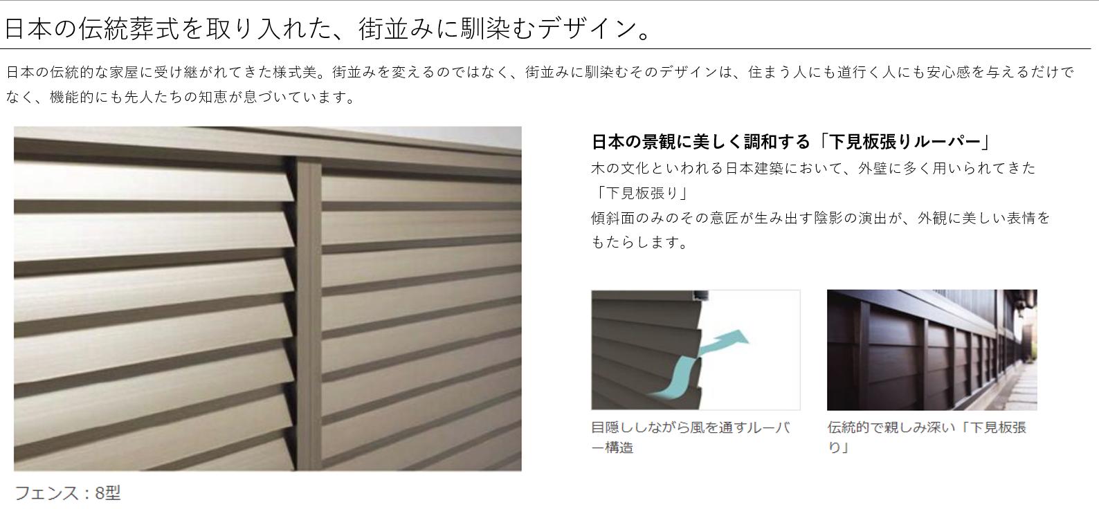 日本の伝統様式を取り入れた、街並みに馴染むデザイン。 日本の伝統的な家屋に受け継がれてきた様式美。街並みを変えるのではなく、街並みに馴染むそのデザインは、住まう人にも道行く人にも安心感を与えるだけでなく、機能的にも先人たちの知恵が息づいています。 フェンス:8型 日本の景観に美しく調和する「下見板張りルーパー」 木の文化といわれる日本建築において、外壁に多く用いられてきた「下見板張り」 傾斜面のみのその意匠が生み出す陰影の演出が、外観に美しい表情をもたらします。 目隠ししながら風を通すルーパー構造 伝統的で親しみ深い「下見板張り」