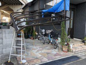 台風被害 テラス屋 設置前