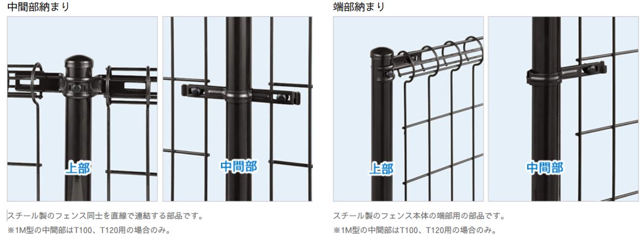商品特徴 フェンス 自由柱タイプ 中間部納まり 上部 中間部 スチール製のフェンス同士を直線で連結する部品です。※1M型の中間部はT100、T120用の場合のみ。 端部納まり 上部 中間部 スチール製のフェンス本体の端部用の部品のみです。※1M型の中間部はT100、T120用の場合のみ。