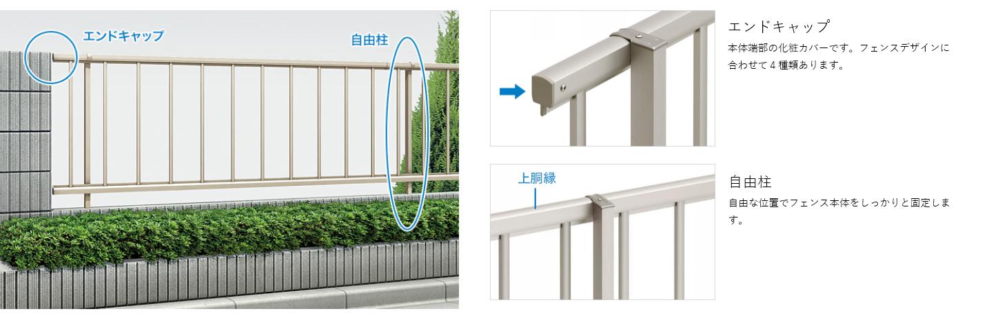 特徴 自由柱施工 エンドキャップ 本体端部の化粧カバーです。フェンスデザインに合わせて4種類あります。  自由柱 自由な位置でフェンス本体をしっかりと固定します。