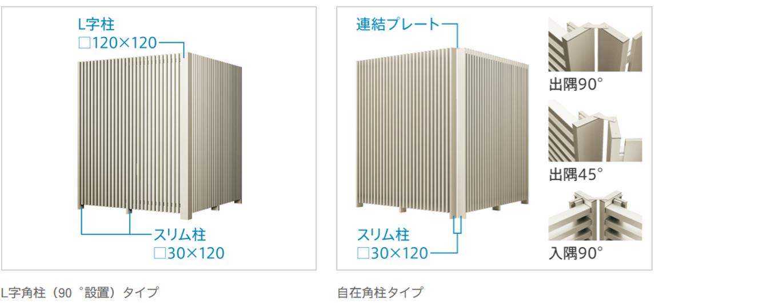 コーナー納まり 90°設置するL字角柱タイプと、出入隅に対応し自由な角度おさまりができる自在角柱タイプがあります。 L字角柱(90°設置)タイプ L字柱 120×120 スリム柱 30×120  自在角柱タイプ 連結プレート スリム柱 30×120 出隅90° 出隅45° 出隅90°