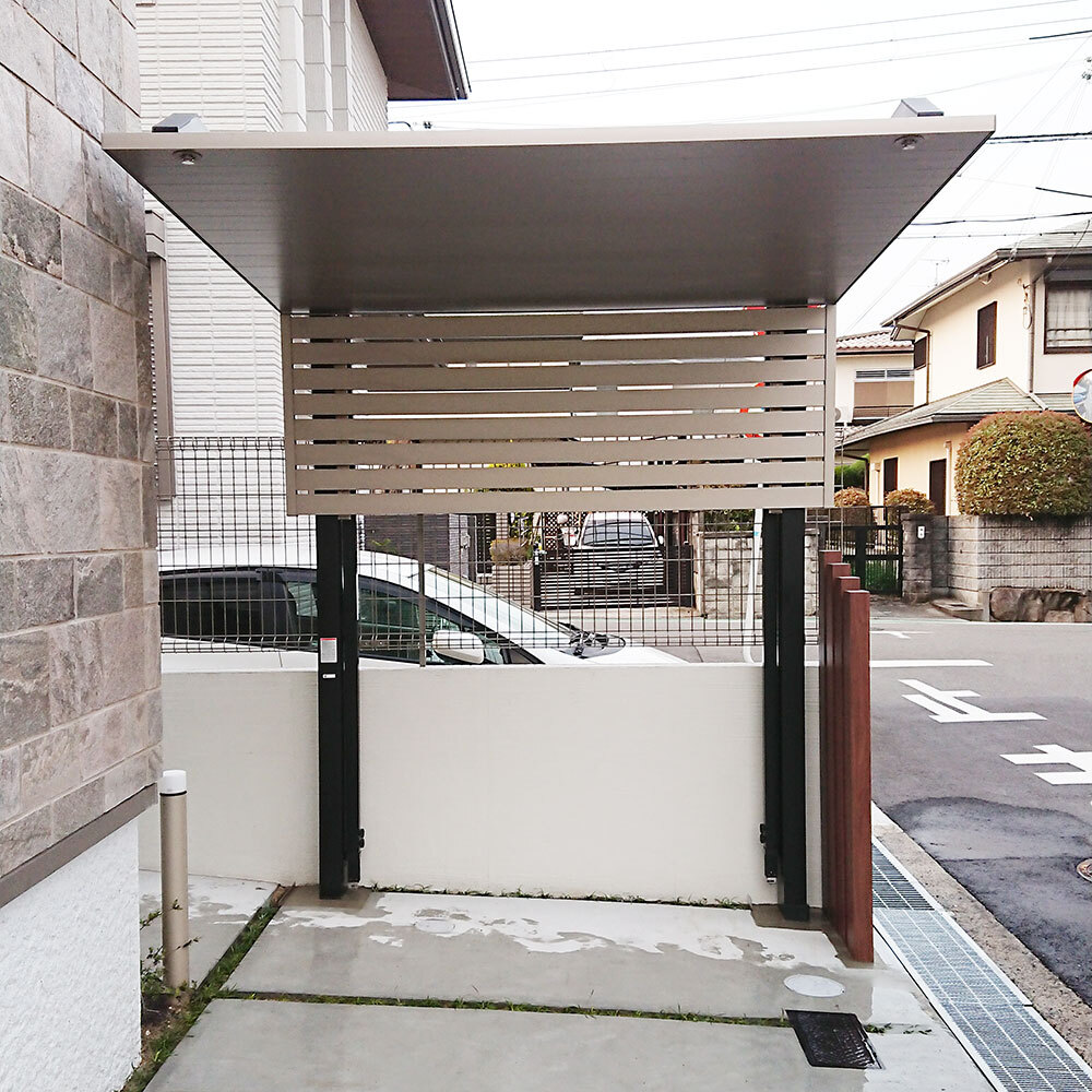LIXIL カーポートSCミニ サイドスクリーン仕様 & 枕木工事_3